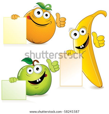 Funny cartoon fruits with blank sign-vector illustration - stock vector