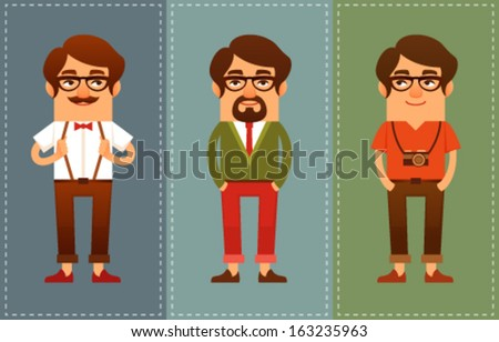 funny cartoon guys dressed in hipster fashion style - stock vector