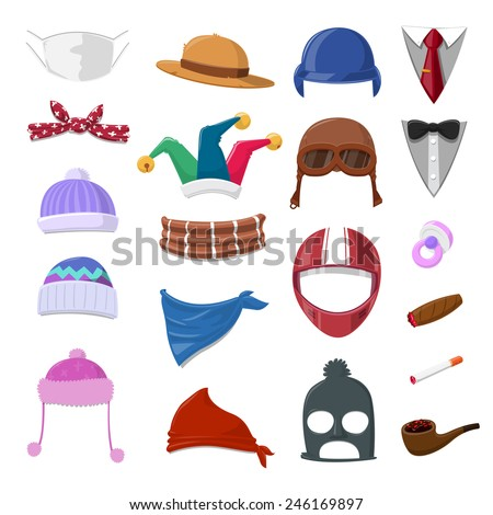 Funny Cartoon Hat set and object - vector illustration - stock vector