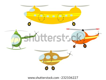 Funny cartoon helicopters. Vector illustration without gradients on one layer. - stock vector
