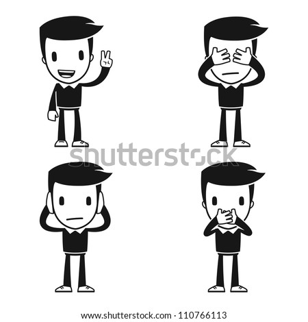 funny cartoon helper man in various poses for use in advertising, presentations, brochures, blogs, documents and forms, etc. - stock vector