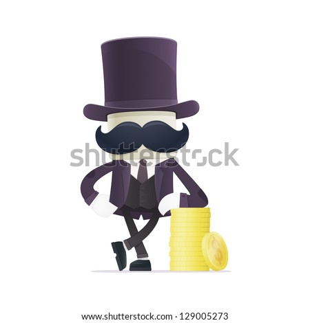 funny cartoon illusionist in various poses for use in advertising, presentations, brochures, blogs, documents and forms, etc. - stock vector