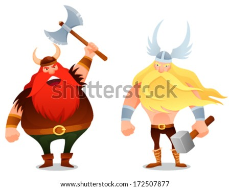funny cartoon illustration from Scandinavian history - a furious viking warrior and the ancient god Thor - stock vector