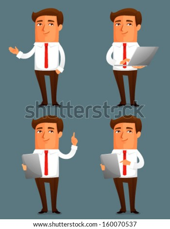 funny cartoon illustration of a young business man in various poses - stock vector