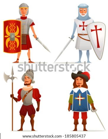 funny cartoon illustrations from ancient and medieval age - a Roman soldier, German crusader, Spanish conquistador and French musketeer - stock vector