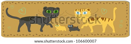 Funny cartoon image of happy cats family with two little kitten - stock vector