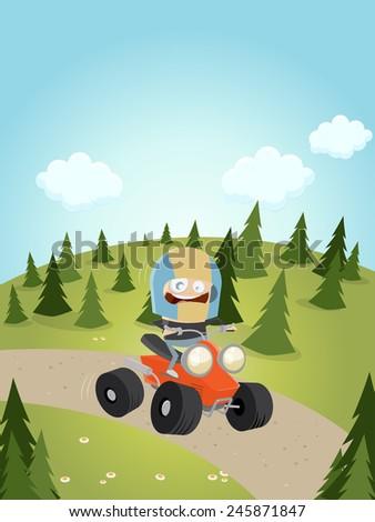 funny cartoon man is driving a quad bike - stock vector