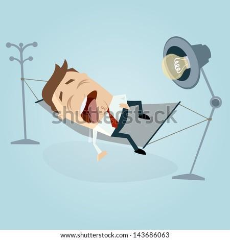 funny cartoon man sleeping and dribbling in hammock - stock vector