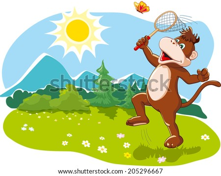 Funny cartoon monkey catching butterflies with a net, happy summer vacation, nature. Vector illustration - stock vector