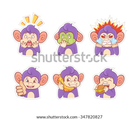 Funny cartoon monkey emotion stickers for chats, messengers and social networks - stock vector