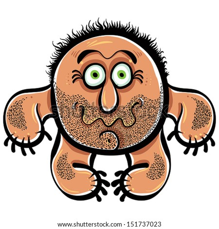 Funny cartoon monster with stubble, vector illustration. - stock vector