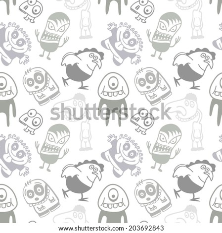 Funny cartoon monsters seamless pattern.  - stock vector
