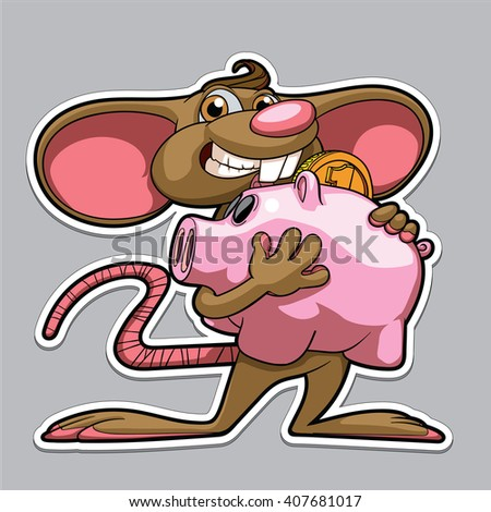Funny cartoon mouse with a pig piggy bank - stock vector