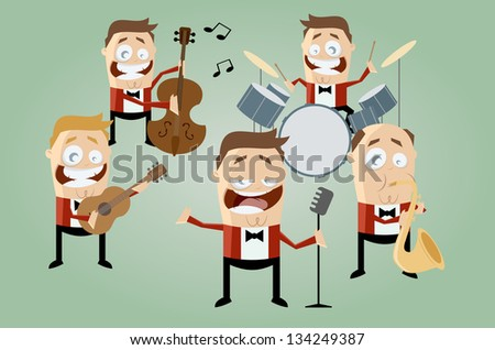 funny cartoon music band - stock vector