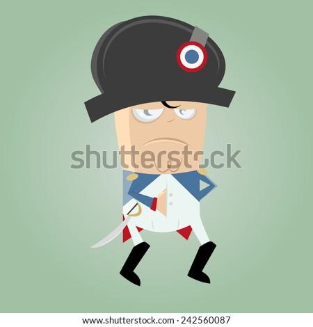 funny cartoon napoleon - stock vector