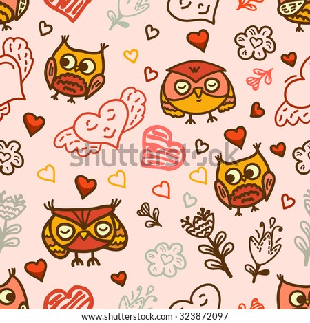 Funny cartoon owls. Seamless pattern can be used for wallpapers, pattern fills, web page backgrounds, surface textures. Lovely childish design. - stock vector