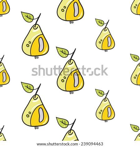 Funny cartoon pear vector seamless pattern.  - stock vector