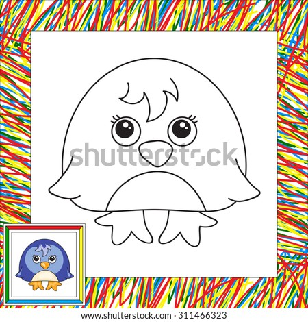 Funny cartoon penguin. Vector illustration for children. Coloring book for kids - stock vector