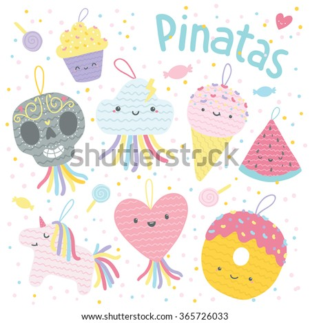 Funny cartoon pinatas characters - unicorn, heart, donut, watermelon, ice cream, cloud, Day of the Dead sugar scull - stock vector