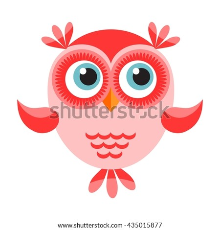 Funny cartoon red owl icon - stock vector