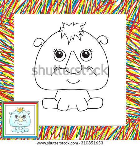 Funny cartoon rhino. Vector illustration for children. Coloring book for kids - stock vector