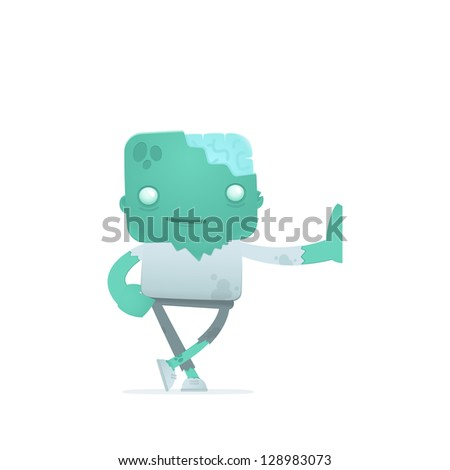 funny cartoon robot in various poses for use in advertising, presentations, brochures, blogs, documents and forms, etc. - stock vector