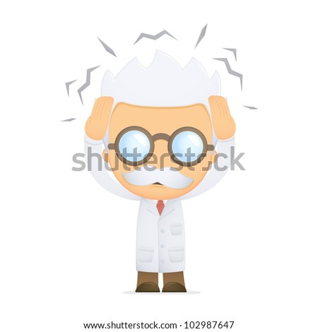 funny cartoon scientist in various poses for use in advertising, presentations, brochures, blogs, documents and forms, etc. - stock vector
