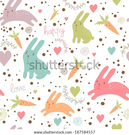 Funny cartoon seamless pattern for children background. Rabbits, carrots, hearts - stock vector