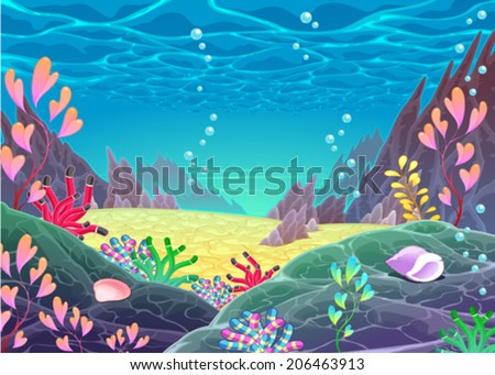Funny cartoon seascape. Vector illustration - stock vector
