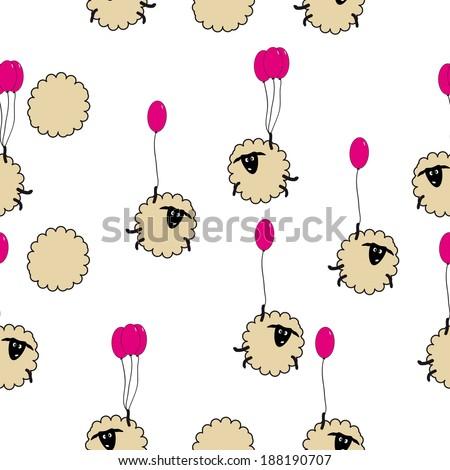 funny cartoon sheep on the balloons.  seamless pattern  - stock vector