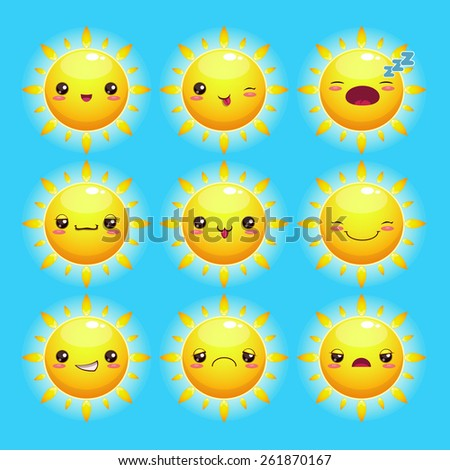 Funny cartoon sun with different emotions, kawaii style - stock vector