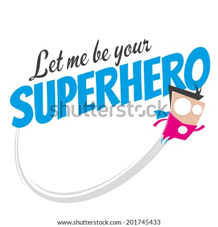 funny cartoon superhero - stock vector