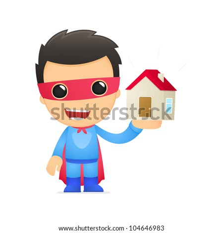 funny cartoon superhero in various poses for use in advertising, presentations, brochures, blogs, documents and forms, etc. - stock vector