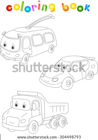 Funny cartoon trolleybus, car and lorry. Coloring book for children. Vector illustration - stock vector