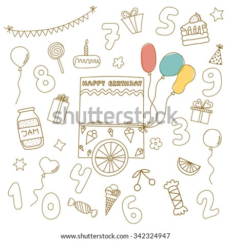 Funny cartoon truck with ice cream and balloons on the background of various characters birthday - stock vector