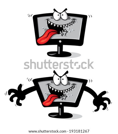 Funny cartoon tv is hungry and angry, attention, likes human minds. Vector clip art - stock vector