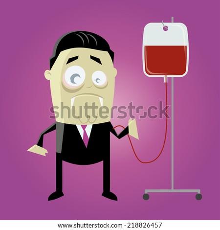 funny cartoon vampire with preserve blood - stock vector