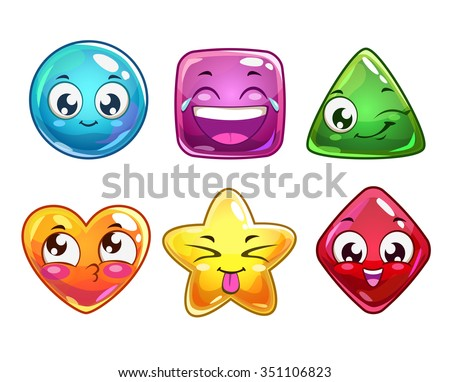 Funny cartoon vector characters icons, colorful glossy figures for gui design, isolated on white - stock vector