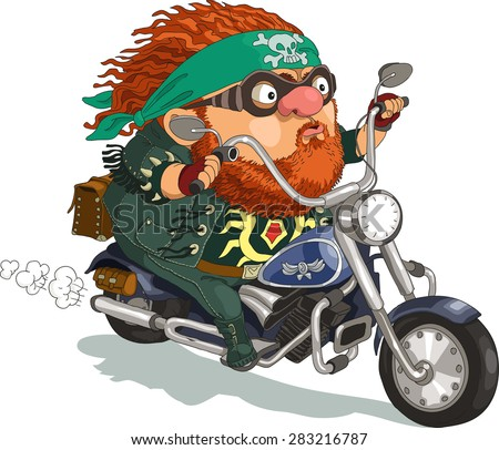 Funny cartoon. Vector illustration. A bearded biker rides a motorcycle. Isolated objects.  - stock vector