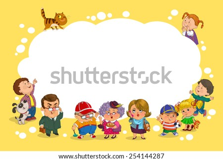 Funny cartoon. Vector illustration. A group of children and adults has a large blank sheet of paper. - stock vector