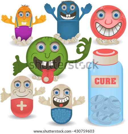 Funny cartoon vector illustration of happy pills and drugs, with emotional expressions. - stock vector