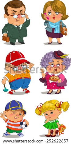 Funny cartoon. Vector illustration. Set of family members.Grandmother, grandfatherather, father, mother, son, daughter. Positive characters. - stock vector