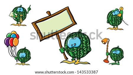 Funny cartoon watermelon on the white backgroun - stock vector
