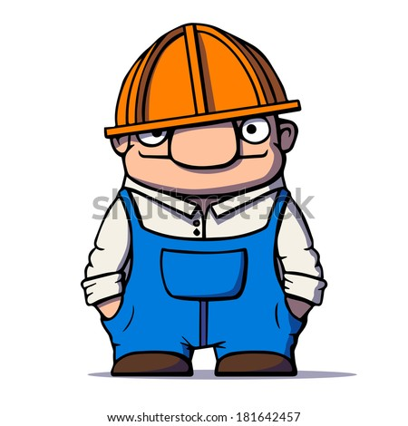 Funny cartoon worker, builder, plumber. Vector illustration - stock vector