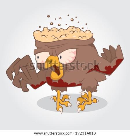 Funny cartoon zombie bird. Vector Illustration - stock vector