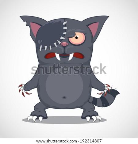 Funny cartoon zombie cat. Vector Illustration - stock vector