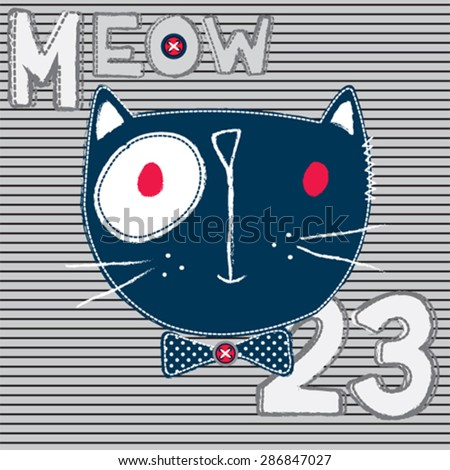 funny cat cartoon on striped background, T-shirt design vector illustration - stock vector
