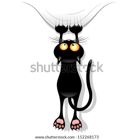 Funny Cat Cartoon Scratching Curtain - stock vector
