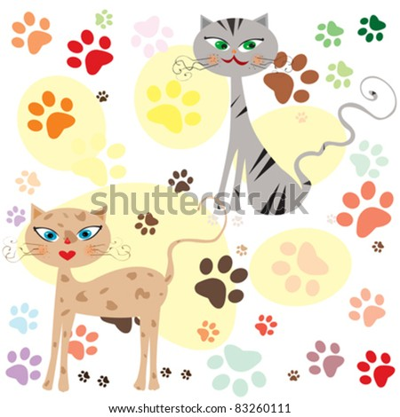 funny cats over colored paws background vector - stock vector