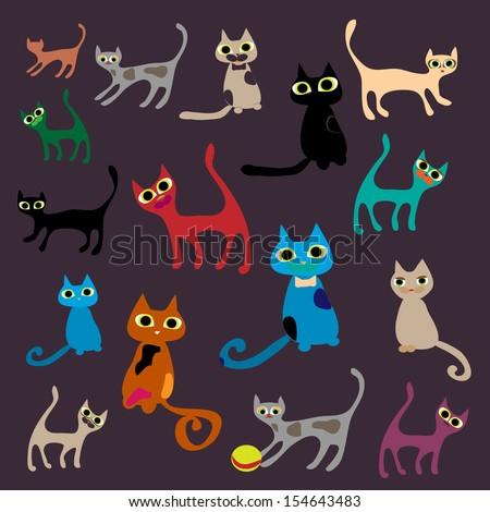 Funny cats. Vector set illustration. - stock vector